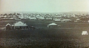 View of Johannesburg looking south from Hospital Hill down Rissik str 1889