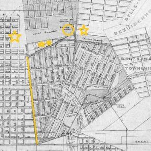 1890 map of Doornfontein showing mismatch of roads and highlighting position of houses in this post. Circle is where Ponte is today