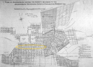 Map of Johannesburg from 1890 with Bree Street kink highlighted