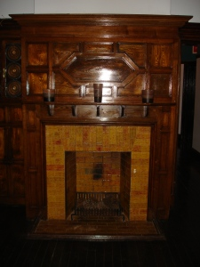 Wood paneled fireplace