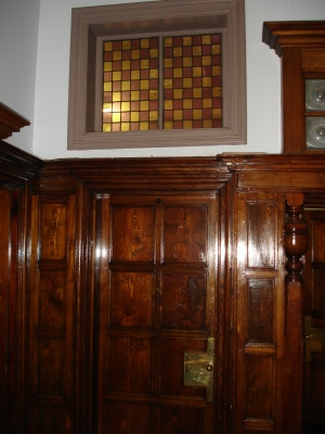 Wood panelling and glass interior Windybrow