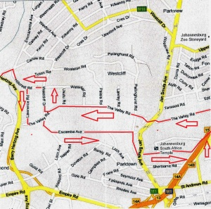 My 10km Parktown route vie Melville