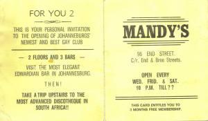 Original Mandys opening night flyer