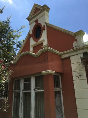 Close up of the facade and plaster work