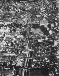 View looking South with Doornfontein in the background before Ponte was built. This is after Harrow Road was widened around late 1960s