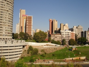 View of Ponte from the foundations 2011. The base of the first water reservoir in JHB is to the grassy right