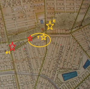 Map showing the positions of the houses mentioned. Turrets on Louisa Street was on the opposite side of the block closer to the red star (position of the sketched house)