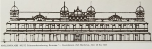 Full length sketch of the front facade