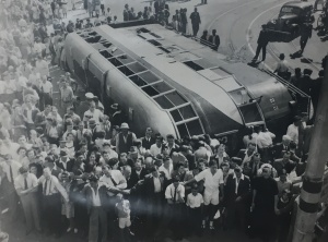 Overturned tram in the city c1940s