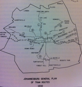 Electric trams route Johannesburg 1932