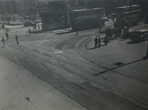 Trams at the old Market Street terminus