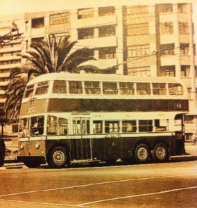 These trolley buses replaced trams. This one is going around Clarendon Circle 1958
