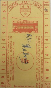Ticket from the last electric tram ride