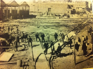 Laying tram tracks at Terminus in Market Street