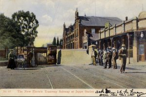 Tram line subway in front of the Grand Station Hotel around 1910