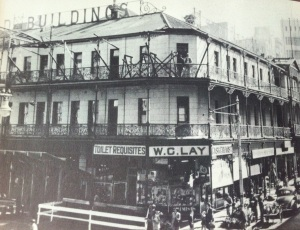 The Standard with building erected around it a few years before being demolished