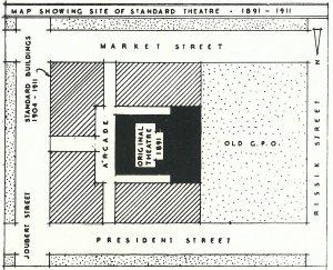 Standard Theatre site map with buildings and Arcade