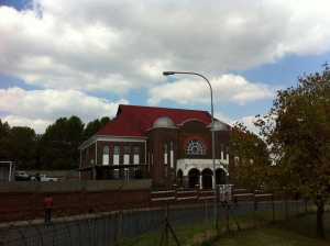 Jeppestown Synagogue situated across the road from the Jeppe monument