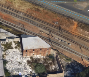 Google view of the old Lithuanian Shul showing where the railway expansion cut into the building