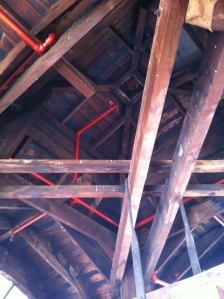 The roof of the clock tower. The entire structure is made from Oregon pine and what looks like oak