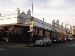 Shop fronts on the corner of Marshall & Macintyre Street 2011