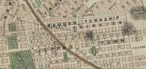 Early Fairview map when it was still called Faucus Township