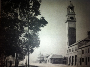 Veiw up Commissioner Street toward fire station early 1900s