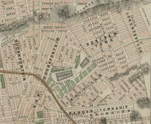 1896 Map of Bertrams and Lorentzville