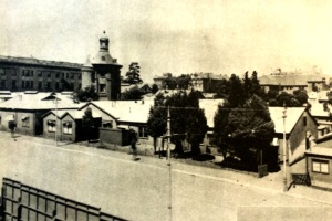 The Tin Temple with telephone tower before it was demolished