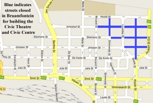 Map showing the area where houses were demolished for the Civic complex