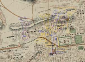 Old map showing the position of some of the buildings in this post