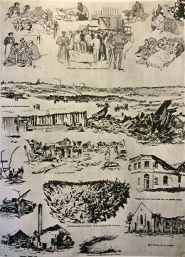 Illustrated events around the aftermath of the explsoion