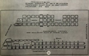 1886 plan showing the position of the first cemetery on the left