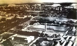 Milner Park 1936 with the Tower of Light in the centre 1936. WITS is to the left and the city with the power station in the background
