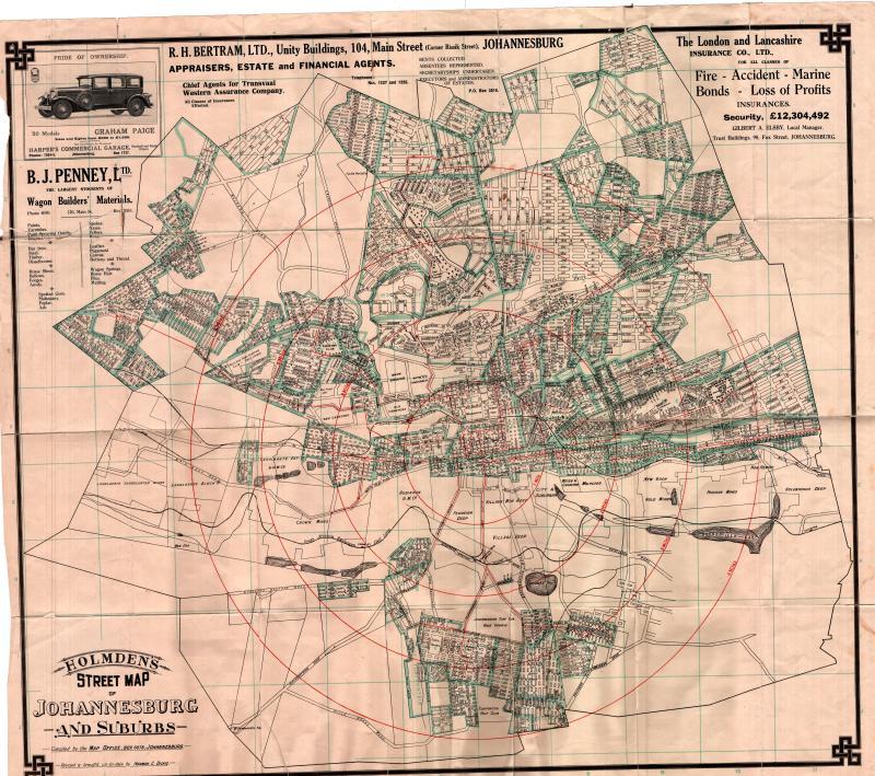 1929 Map of Johannesburg