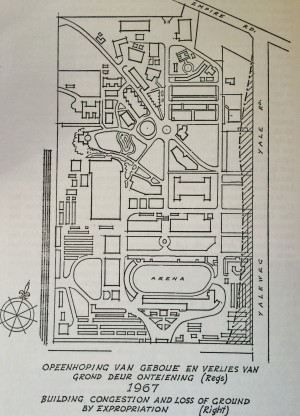 1967 plan showing sections on the right being expropriated for the new highway