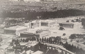 WITS from 1930. THe picture shows the managers house in the foreground and the top of Helpmekaar. Braamfontein Cemetery and Fordsburg are in the background