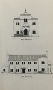 Drawing of the Ponovez Synagogue which was on the corner of Hilner and Siemert Streets