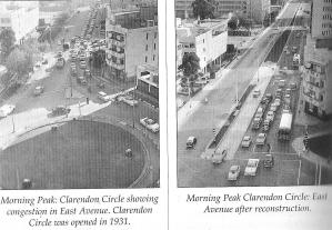 Clarendon circle before and after redesign