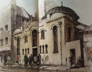 Painting of the synagogue by Philip Bawcombe