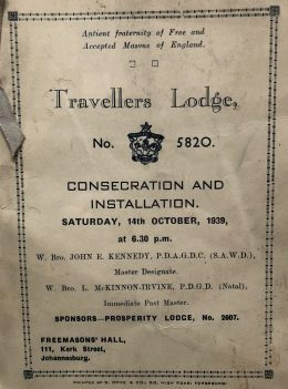 Travellers lodge consecration pamphlet