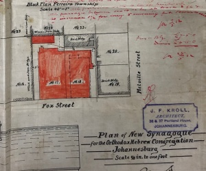 Fox Street synagogue block plan