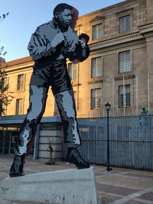 Mandela boxing street art installation opposite Chancellor house