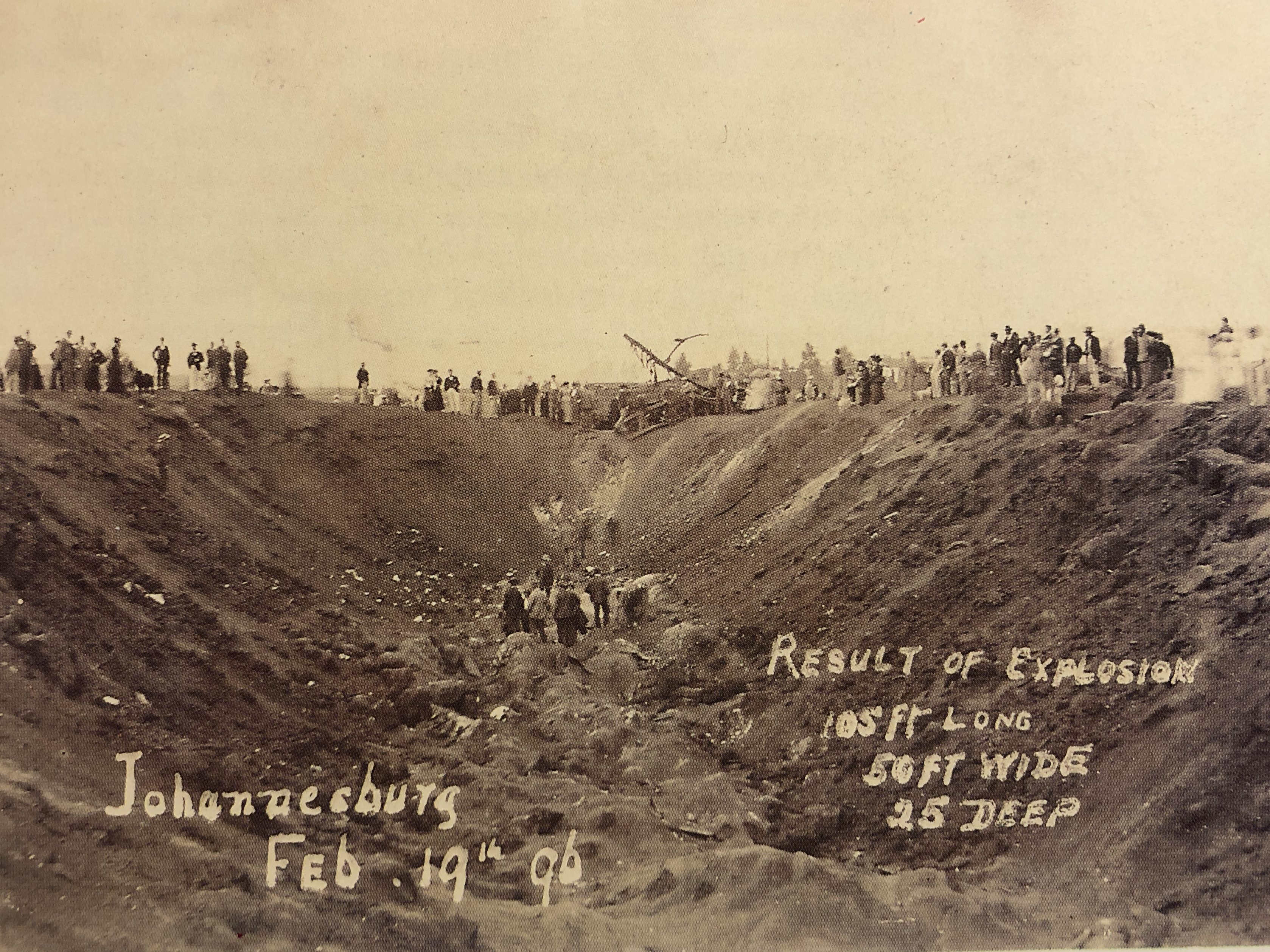 Dynamite explosion crater
